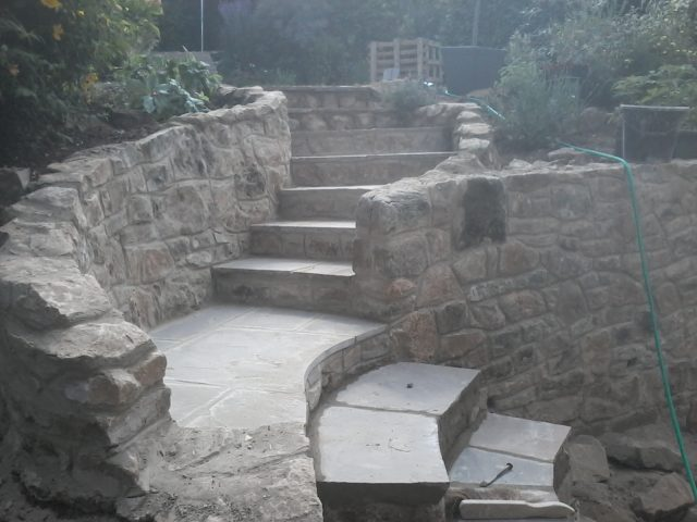 .. and rebuilt to new profile in stone....